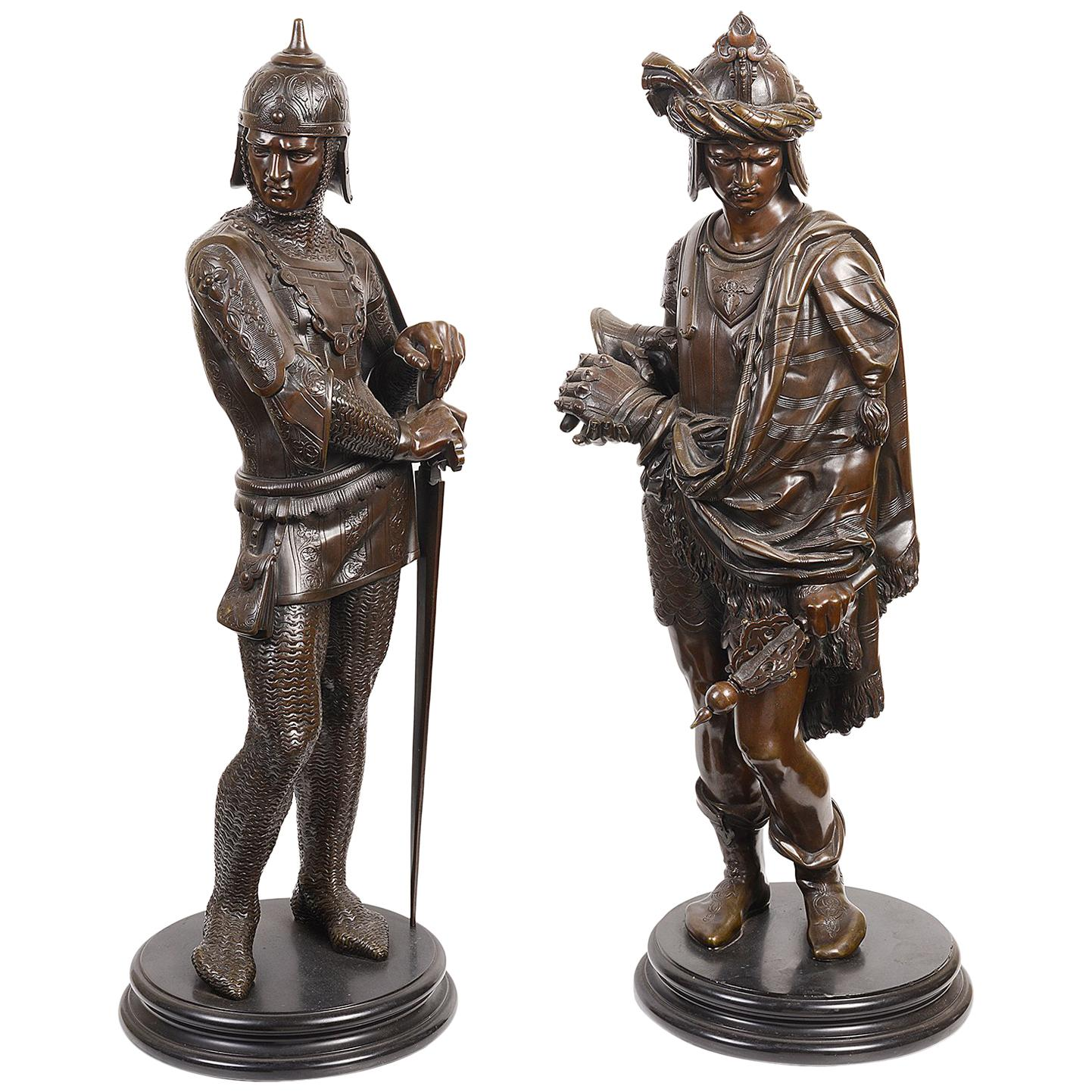 Pair of 19th Century French Bronze Statues of Knights