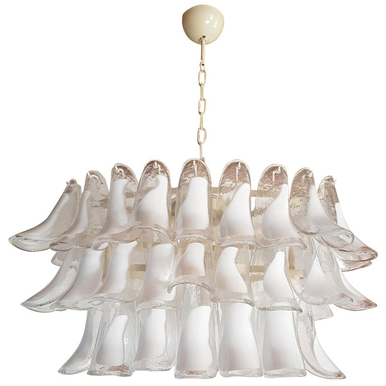 Pair of White Murano Glass Oval Mid-Century Modern Chandeliers by Mazzega For Sale