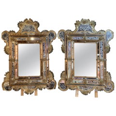 Pair of Venetian Gold Etched Mirrors