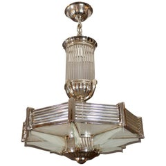 Octagonal Nickeled Art Deco Ceiling Lamp from Petitot, France, 1930s