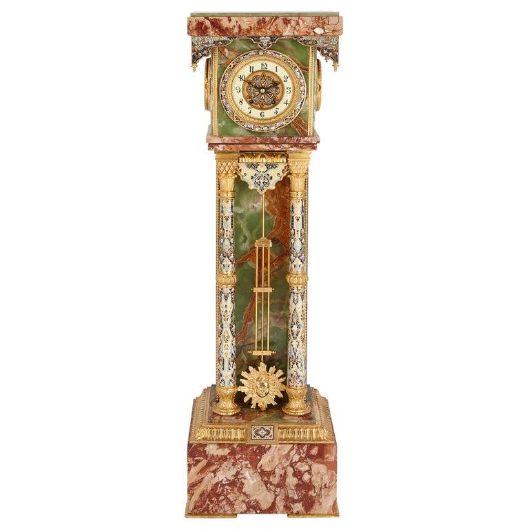 Onyx, Marble, Gilt Bronze and Champlevé Enamel Pedestal Clock For Sale