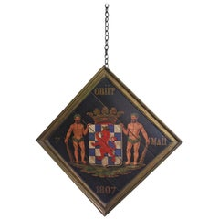 Early 19th Century French Oil on Board Hatchment Obituary Armorial Coat of Arms