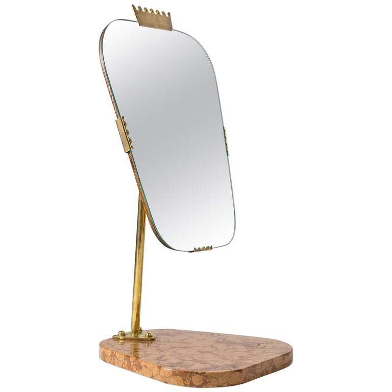 Swedish 1940s Vanity Mirror, Brass, Stone and Teak For Sale