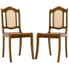 Set of 2 Biedermeier Cane Chairs in Walnut, Germany, circa 1850