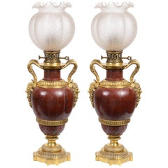 Impressive Pair of 19th Century Classical Marble Lamps