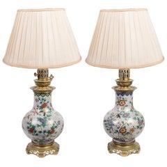 Pair of Oriental Style Enamel Lamps, 19th Century