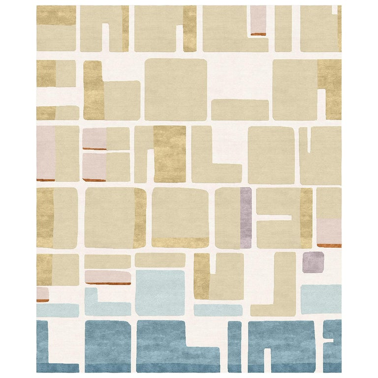 Jeanneret Coupe de Rose Hand-Knotted Wool and Silk 2.5 x 3.0m Rug For Sale