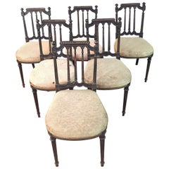 6 Chairs in Louis Seize Stil Black Ebonized