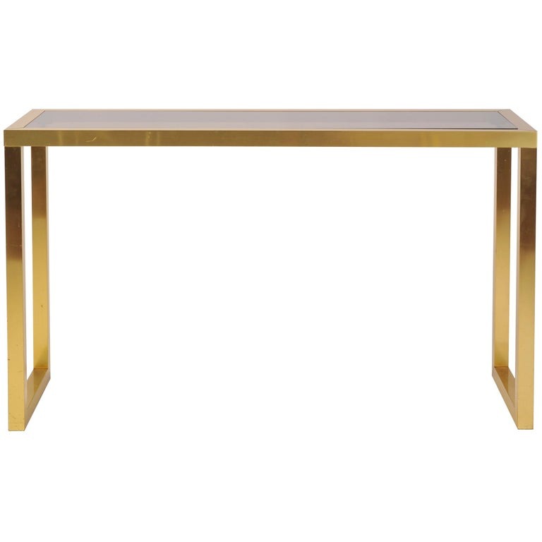 1970s Brass And Smoked Glass Console Table For Sale At 1stdibs