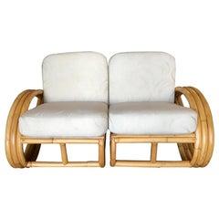 Restored Three-Stranded 3/4 Round Pretzel Sectional Loveseat Sofa