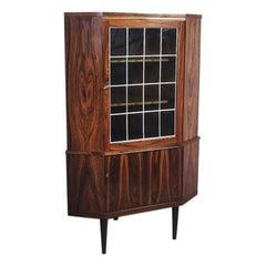 Danish Rosewood Corner Cabinet with Glass Vitrine, 1960s