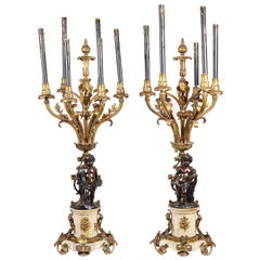 Large Pair of Classical Bronze Louis XVI Style Candelabra, 19th Century