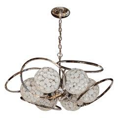 Mid-Century Modern Sculptural Chrome & Translucent Textured Glass Orb Chandelier