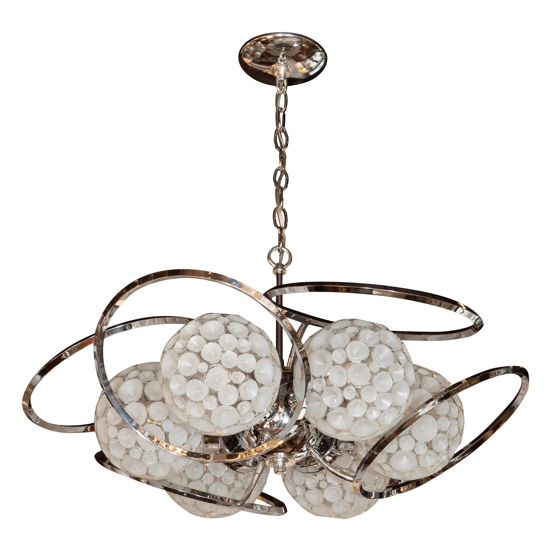 Mid century modern sculptural chrome translucent textured glass orb chandelier