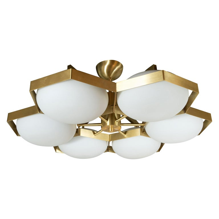 "Modernist Six-Arm Brass and Hand Blown Murano ""Honeycomb"" Flush Mount Chandelier For Sale"