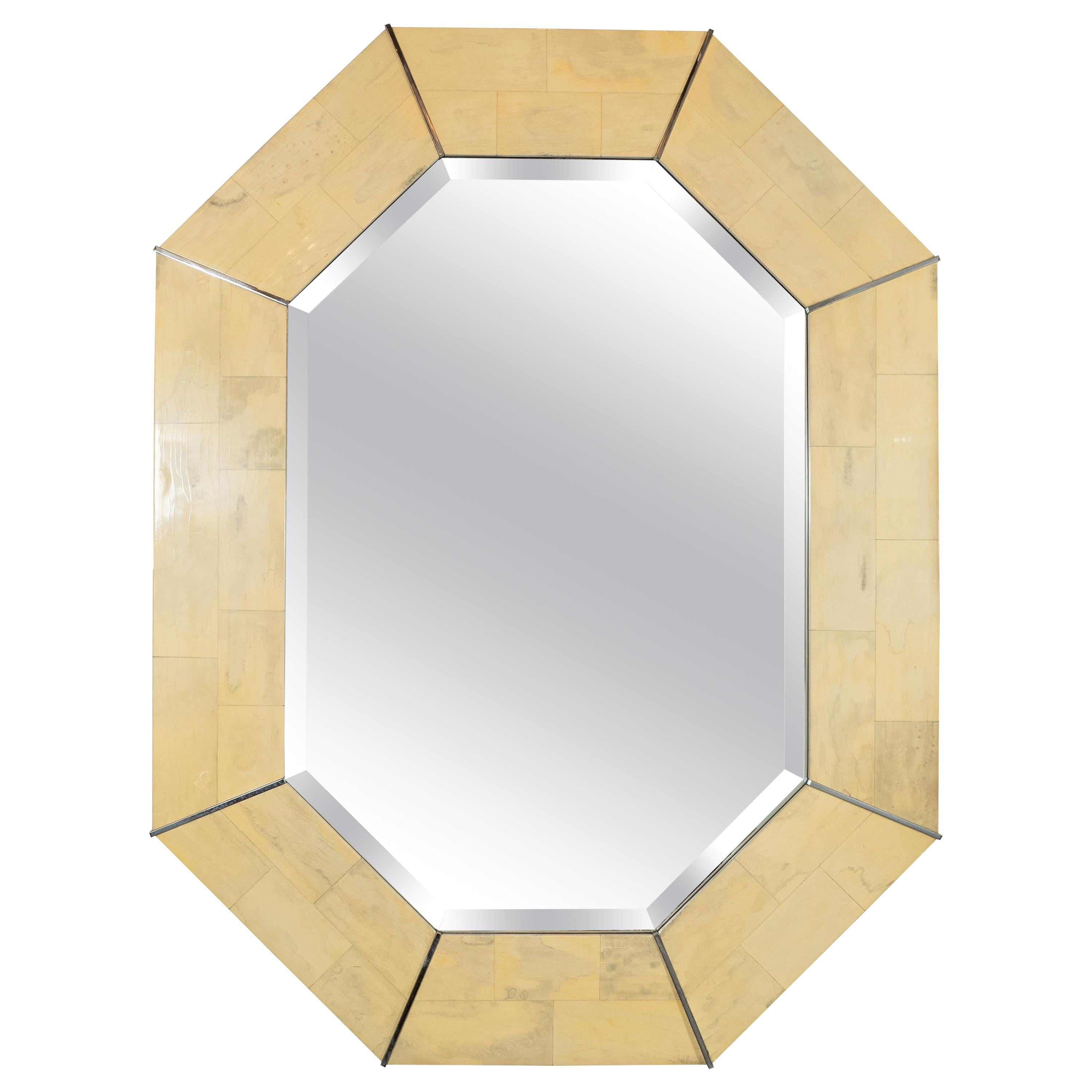 Karl Springer Midcentury Elongated 8-Sided Marbleized Lacquer and Brass Mirror