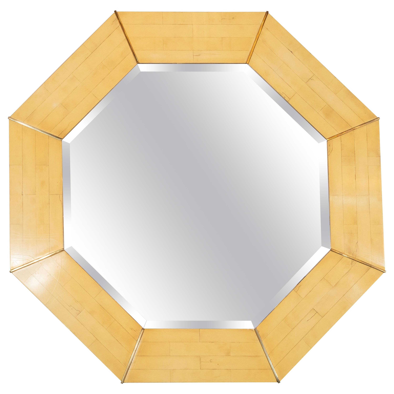 Karl Springer Mid-Century Modern Marbleized Lacquer and Brass Octagonal Mirror