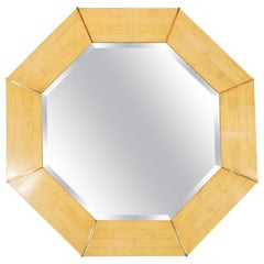 Karl Springer Mid-Century Modern Marbleized Lacquer and Brass Octagonal Mirror