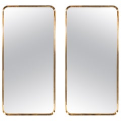 Pair of Italian Mid-Century Modern Rectangular Curvilinear Brass Wrapped Mirrors