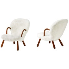 Philip Arctander Sheepskin Clam Chairs, 1950s