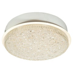 Mid-Century Modern Organic Textured Glass and White Enamel Flush Mount