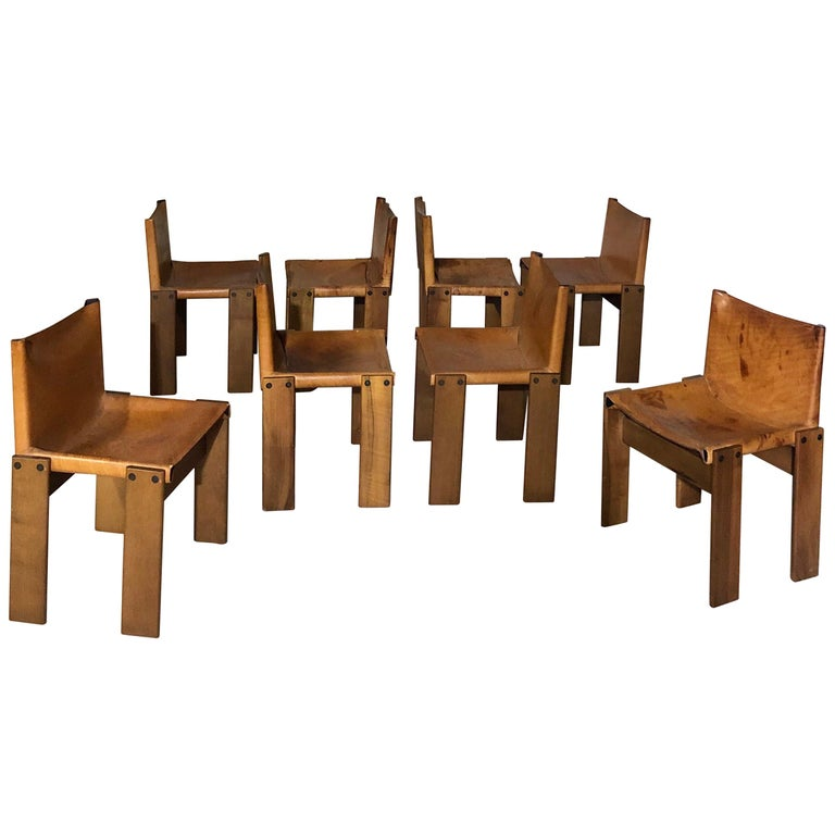 """Cognac Leather """"Monk"""" Chairs, Afra & Tobia Scarpa Design for Molteni, Set of 8 For Sale"""