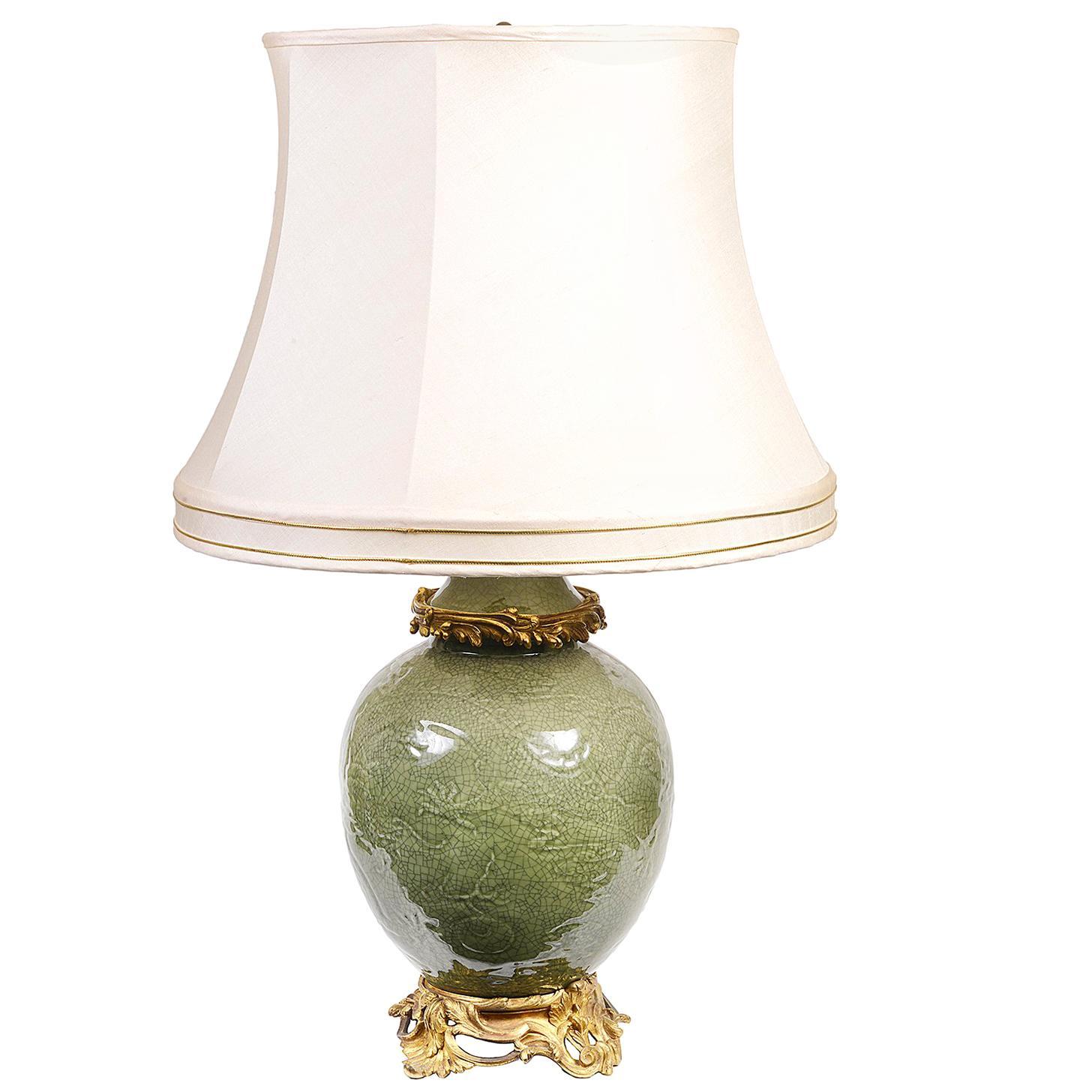 19th Century Chinese Celadon Ormolu Mounted Vase / Lamp