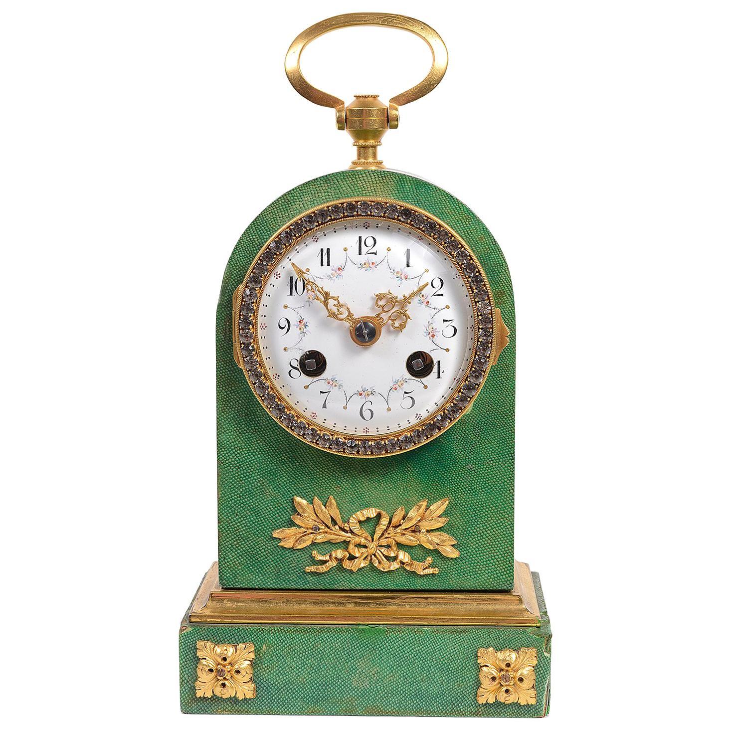 Shagreen and Ormolu Mantel Clock, circa 1900