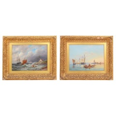 Pair of Oil on Canvas Seascapes by D.C. Dommerson, 19th Century