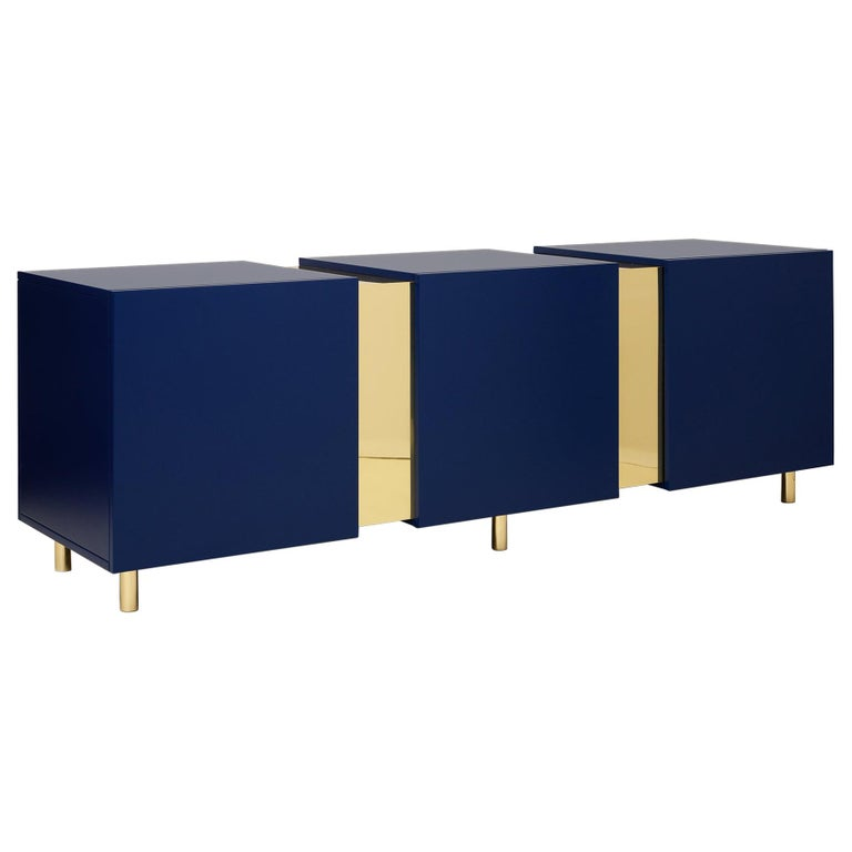 Sideboard in Brass and Colorful Lacquered Wood, Geometric-Shaped For Sale