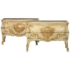 Pair of Lacquered Commodes, 19th Century, Italian
