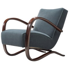 Customized Halabala Lounge Chair with Petrol Mohair Upholstery