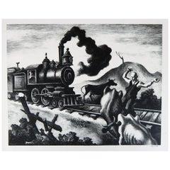 Thomas Hart Benton Original Stone Lithograph, 1941, Slow Train through Arkansas