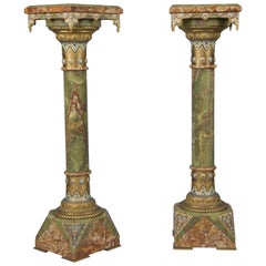 Pair of Champlevé Enamel Mounted Green Onyx and Marble Pedestals, circa 1870