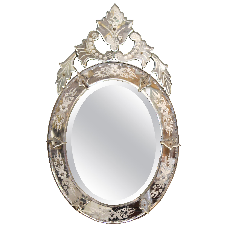 Hollywood Regency Venetian Oval Beveled Mirror