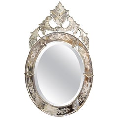 Hollywood Regency Venetian Oval Beveled Mirror