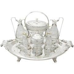 Paul Storr 1802 Sterling Silver and Cut Glass Cruet Service