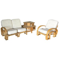 "Restored ""Double Horseshoe"" Rattan Sofa, Table and Chair Living-Room Set"