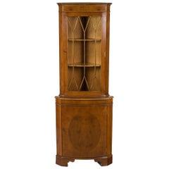 Yew Wood Single Door Narrow Tall Corner Cabinet Cupboard Hutch