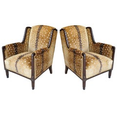 French Art Deco Classic Wingback Style Chairs in Antelope Fabric
