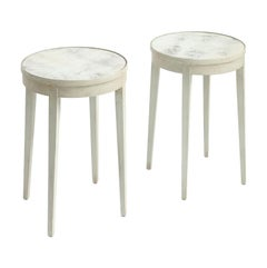 Pair of Painted Accent Tables with Antiqued Mirrored Tops