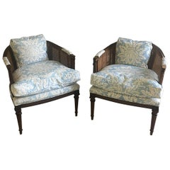 Barrel Back Cane Chairs in Light Floral Blue, a Pair