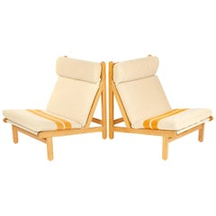 Pair of Ladder Back Lounge Chairs by Bernt Petersen for Worts Mobelsnedkeri