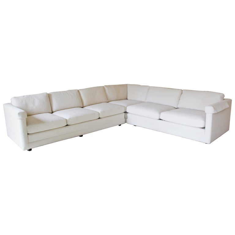 Contemporary Modern 3-Piece L Shaped White Sectional Sofa by Henredon 1980s For Sale