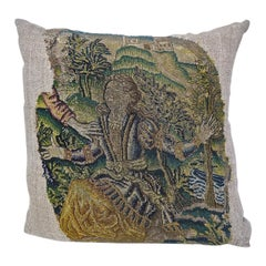 Wool and Silk Needlework Pillow French, 17th Century