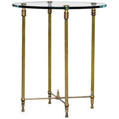 French Mid Century Neoclassical Style Brass and Glass Side Table