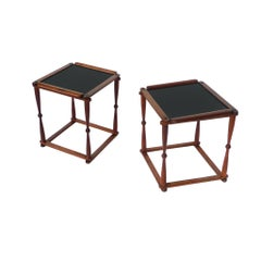 Pair of 1940s Campaign-Style Collapsible Walnut End Tables