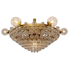 Extremely Large Hotel Chandelier with Brass Fixture and Structured Glass Globes