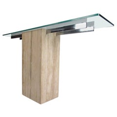 Midcentury Italian Travertine and Glass Console Table by Artedi, 1970s