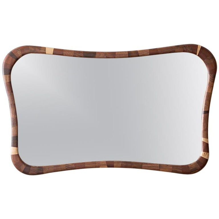 STACKED Rectilinear Walnut Mirror by Richard Haining, Available Now For Sale